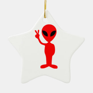 Red Alien Gesturing Peace Sign with Hand Ceramic Star Decoration