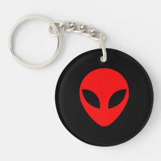Red Alien Head Key Ring