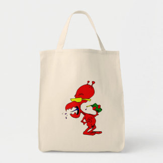 Red Alien with Soda Tote Bags