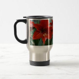 Red Amarylis Stainless Steel Travel Mug