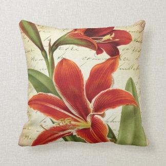 Red Amaryllis Christmas Flower Botanical Cushion