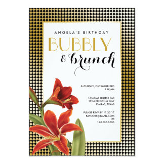 Red Amaryllis Flower Checked Gold 13 Cm X 18 Cm Invitation Card
