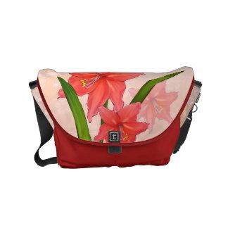 Red Amaryllis Flowers Messenger Bags