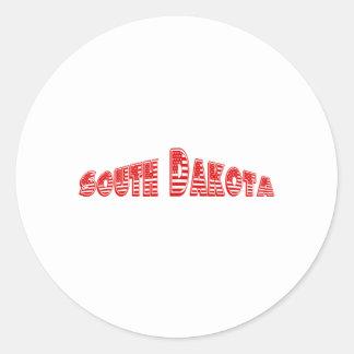 Red American Flag South Dakota Round Sticker