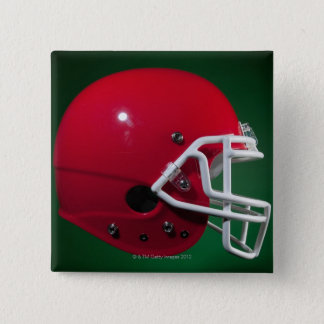 Red American football helmet on green background 15 Cm Square Badge