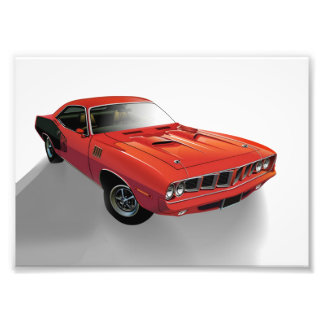 Red American muscle car Photo Art