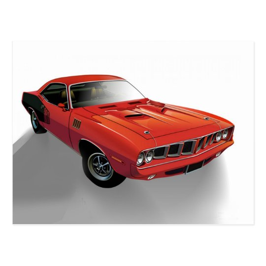 Red American muscle car Postcard