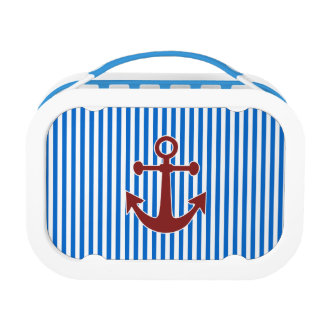 Red Anchor and Blue/White Stripes Lunch Boxes