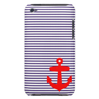 Red Anchor and Navy Blue Sailor Stripes Barely There iPod Covers