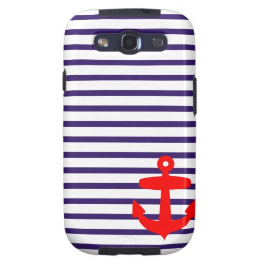 Red Anchor and Navy Blue Sailor Stripes Samsung Galaxy S3 Cover
