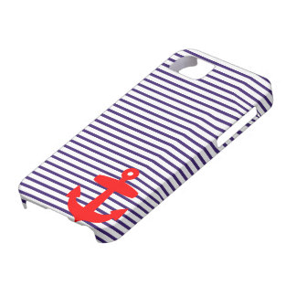 Red Anchor and Navy Blue Sailor Stripes iPhone 5 Cases