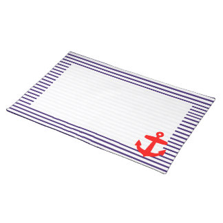 Red Anchor and Navy Blue Sailor Stripes Placemat