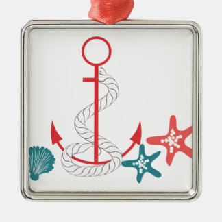 Red Anchor and Shells Christmas Ornaments