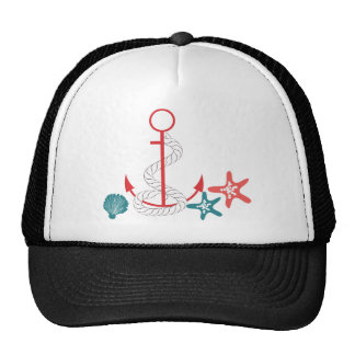 Red Anchor and Shells Trucker Hats
