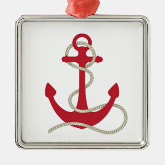 Red Anchor Christmas Ornament