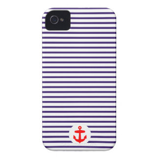 Red Anchor circle and Navy Blue Sailor Stripes iPhone 4 Case-Mate Case