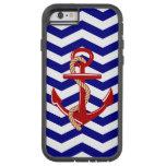 Red Anchor Nautical Chevron Stripes