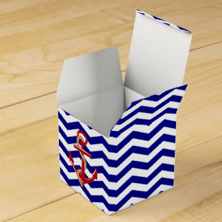 Red Anchor Nautical Chevron Stripes Favour Box