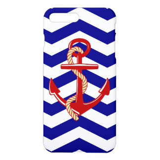 Red Anchor Nautical Chevron Stripes iPhone 8 Plus/7 Plus Case