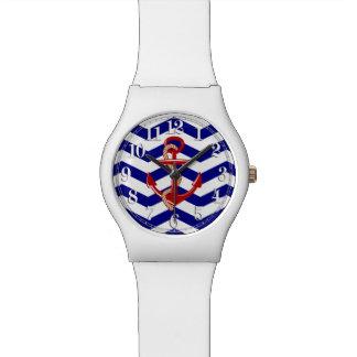 Red Anchor Nautical Chevron Stripes Watches