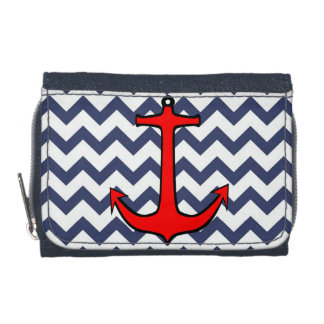 Red Anchor on Blue and White Chevron Wallets