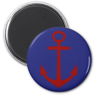 Red Anchor on Blue Nautical 6 Cm Round Magnet