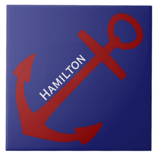 Red Anchor on Blue Nautical Personalized Tile