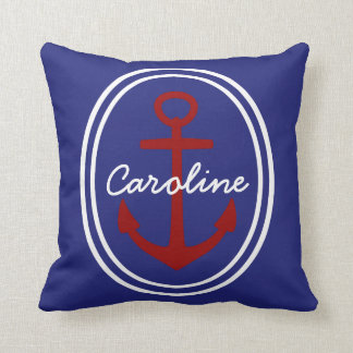 Red Anchor on Nautical Blue Personalized Throw Pillow