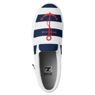 Red Anchor on Navy Blue Stripes Printed Shoes