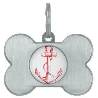 Red Anchor Pet Name Tag