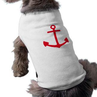 Red Anchor Sleeveless Dog Shirt