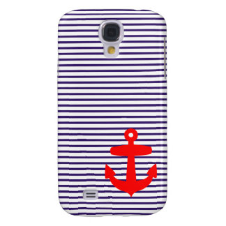 Red Anchor with Blue Breton Stripes Galaxy S4 Case