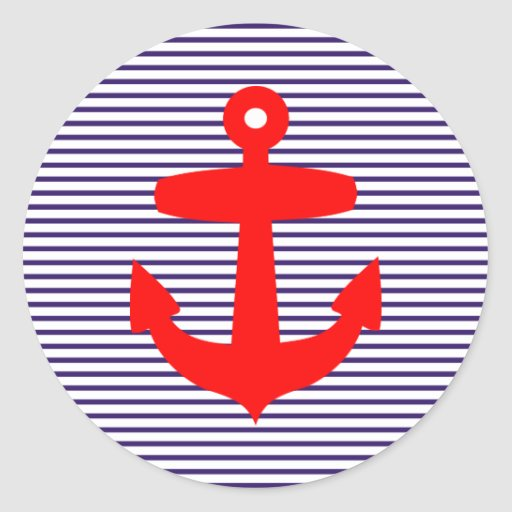 Red Anchor with Blue Sailor Stripes Sticker