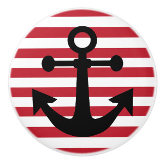 Red Anchors Away Ceramic Knob