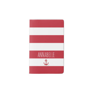 Red Anchors Away Pocket Moleskine Notebook
