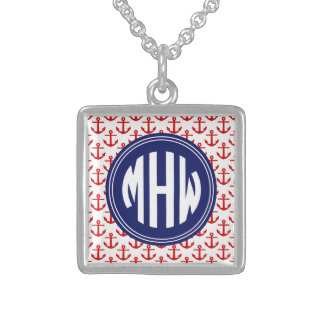 Red Anchors White BG, Circle Monogram on Navy Blue Square Pendant Necklace