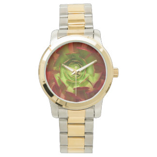 Red and  Aeonium Succulent Square by Amy Vangsgard Wristwatch