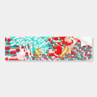 Red and Aqua Abstract Bumper Sticker