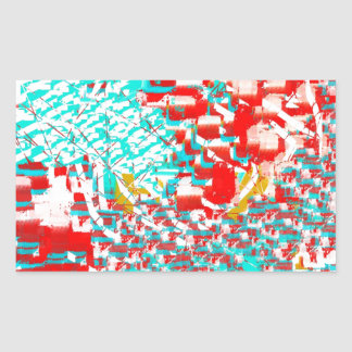 Red and Aqua Abstract Rectangular Stickers