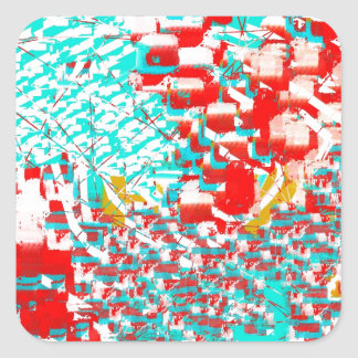Red and Aqua Abstract Sticker