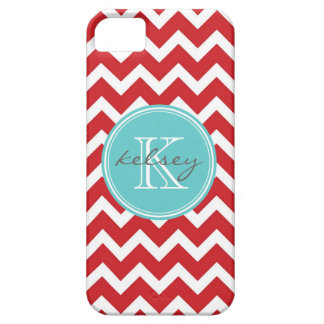 Red and Aqua Chevron Custom Monogram iPhone 5 Cases