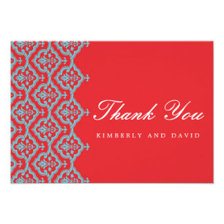 Red and Aqua Damask Wedding Thank You Card