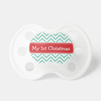 Red and Aqua First Christmas Holiday Chevron Baby Pacifiers