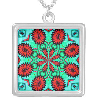 Red and Aqua Kaleidoscope Art Pendant Necklace