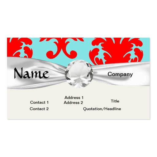 red and aqua lovely formal damask business cards