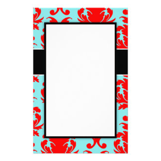 red and aqua lovely formal damask customized stationery