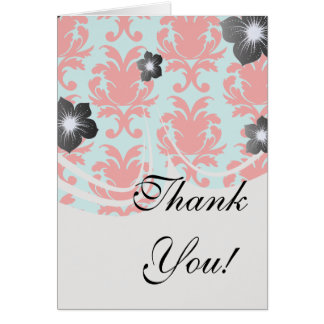 red and aqua lovely formal damask greeting cards