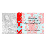 red and aqua lovely formal damask customised photo card