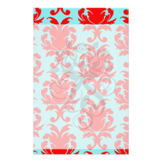 red and aqua lovely formal damask stationery paper