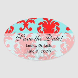 red and aqua lovely formal damask oval sticker